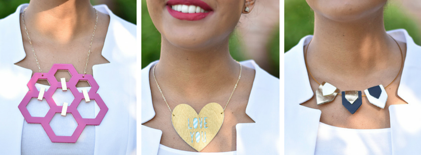 (left) - reversible leather statement necklace with gold foil accents, (Center) - gold painted birch heart necklace, (RIGHT) - tri-color leather pennant necklace