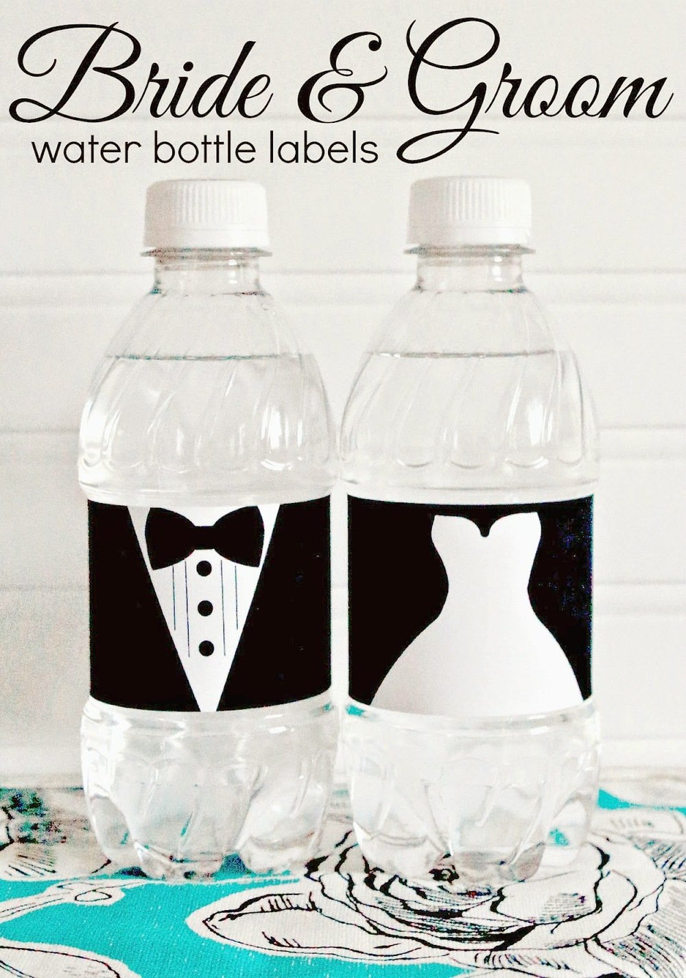 Speaking of water bottle labels - how precious are these  bride and groom labels from Prepping Parties ? What a fun way to personalize your wedding!