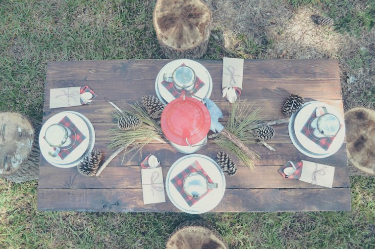 The rustic table setting makes me ridiculously happy. The stumps for chairs, the woodgrain silverware holders, the coordinating plaid napkins - perfection!