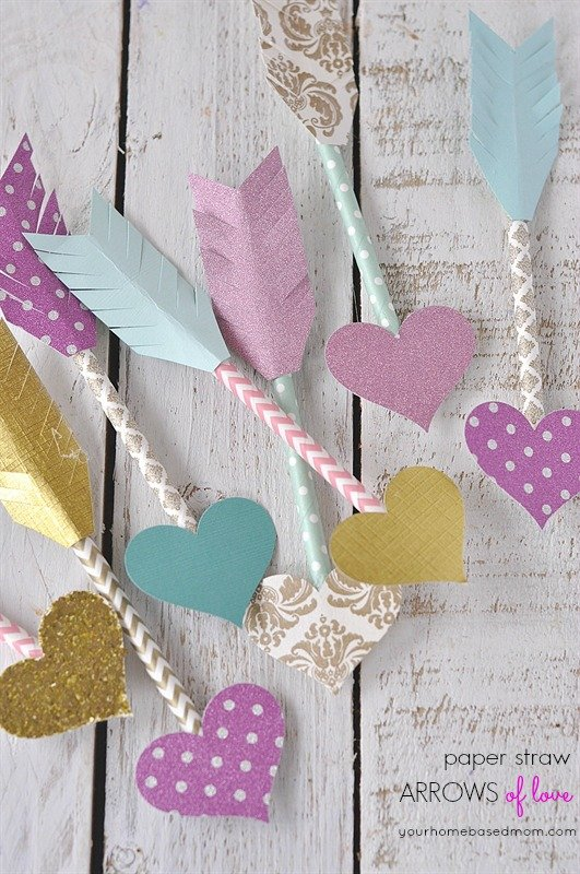 Paper straw arrows of love from  yourhomebasedmom.com