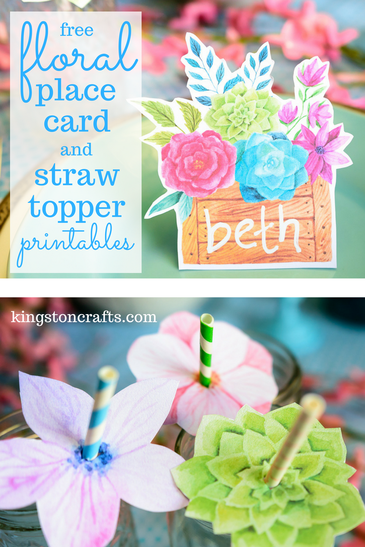FREE Printables – Floral Place Cards and Straw Toppers