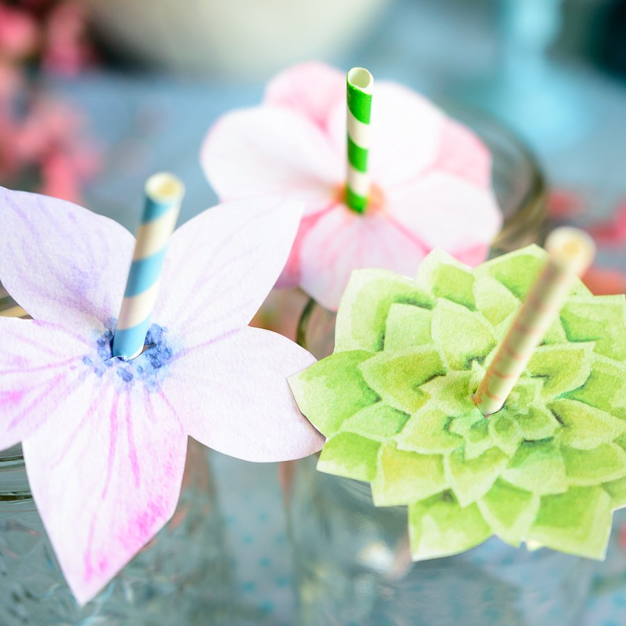 Floral Straw Toppers