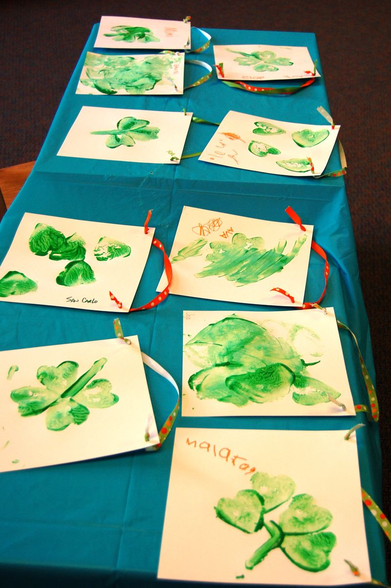 table covered with potato paintings