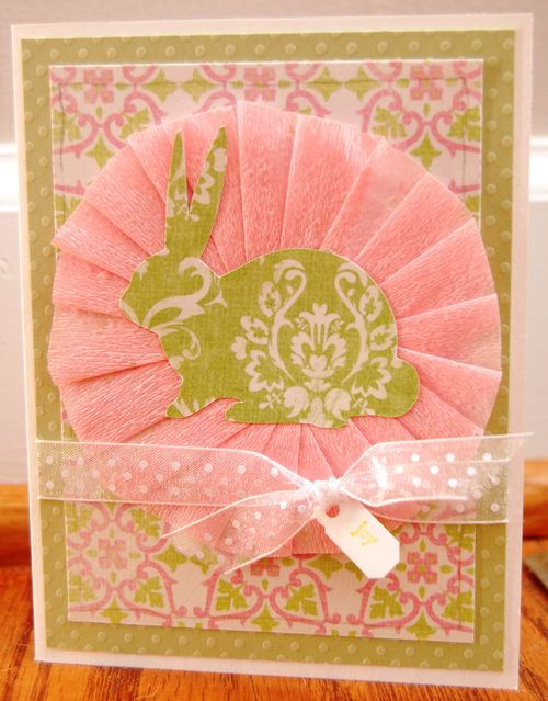 bunny pink and green easter card