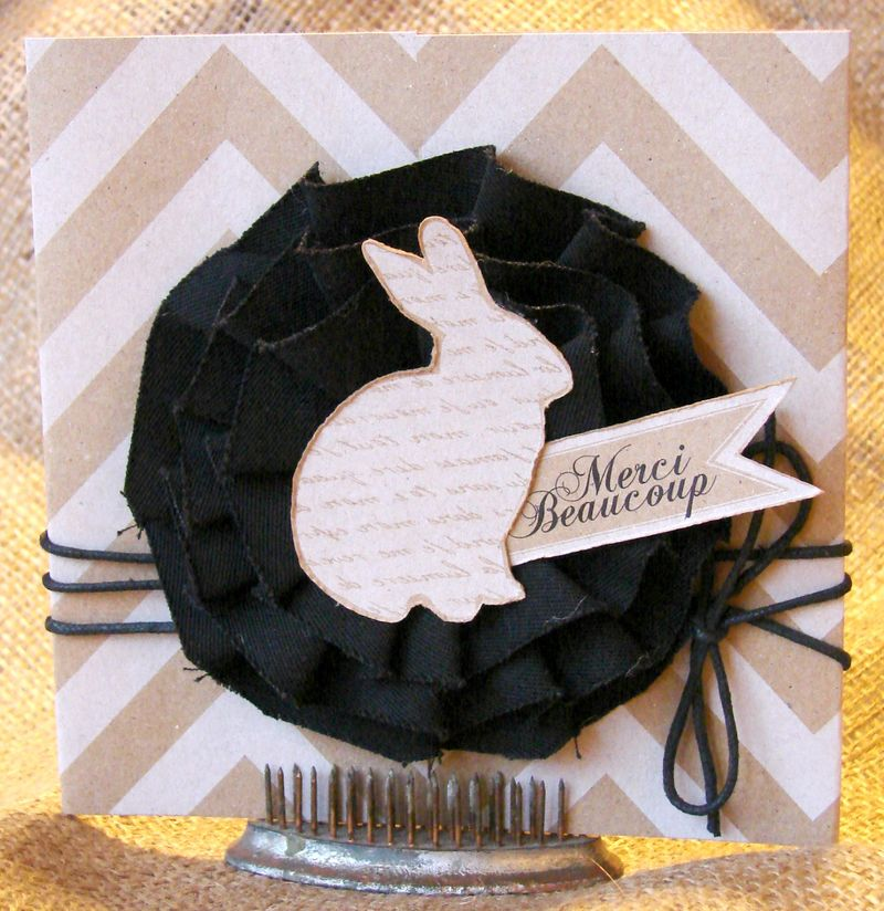 bunny pink and black easter card