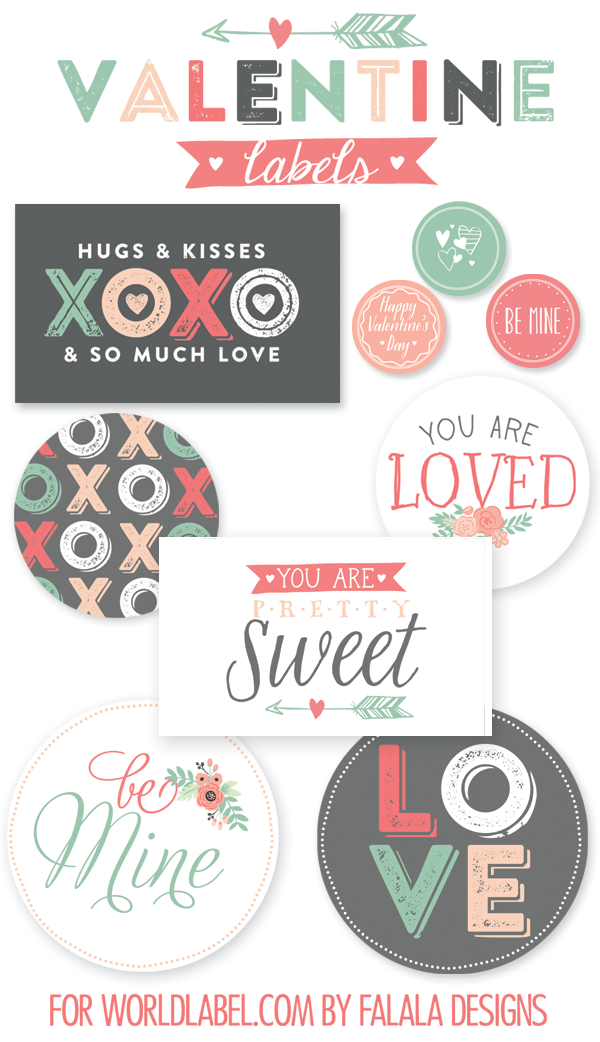 valentine labels in assorted sizes and shapes  from wordlabel.com