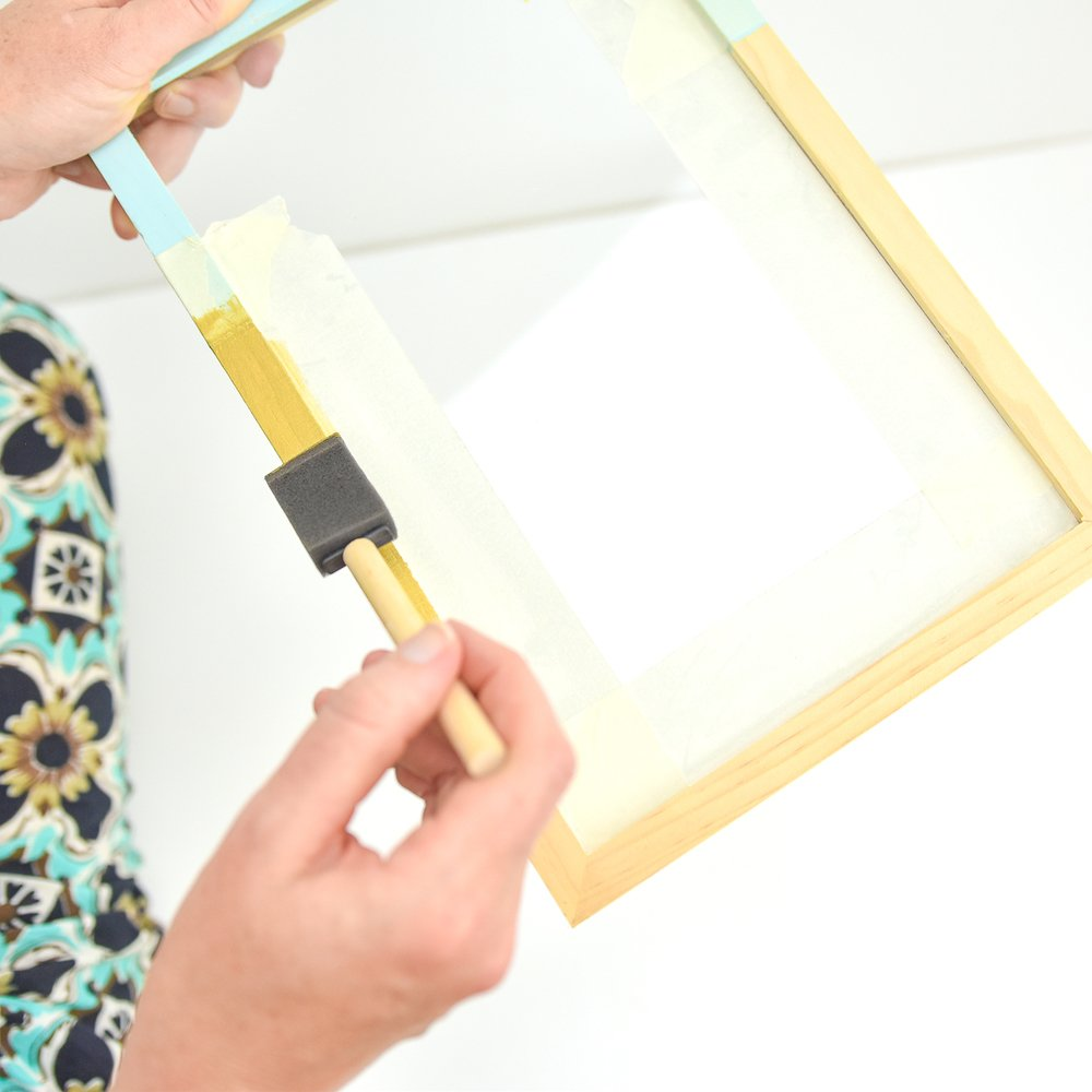 Apply several coats of gold paint to frame (I did two) - allow to dry between coats.