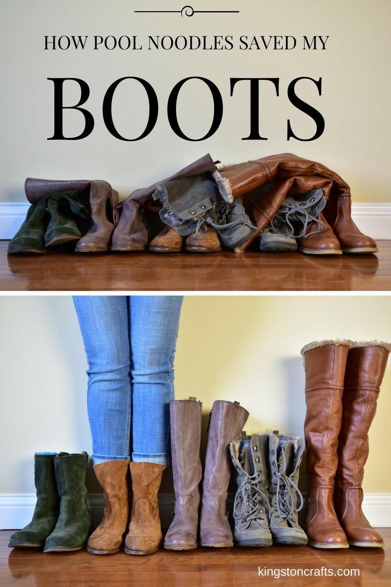 Pinterest Hack – Use Pool Noodles to Organize and Store Your Boots!