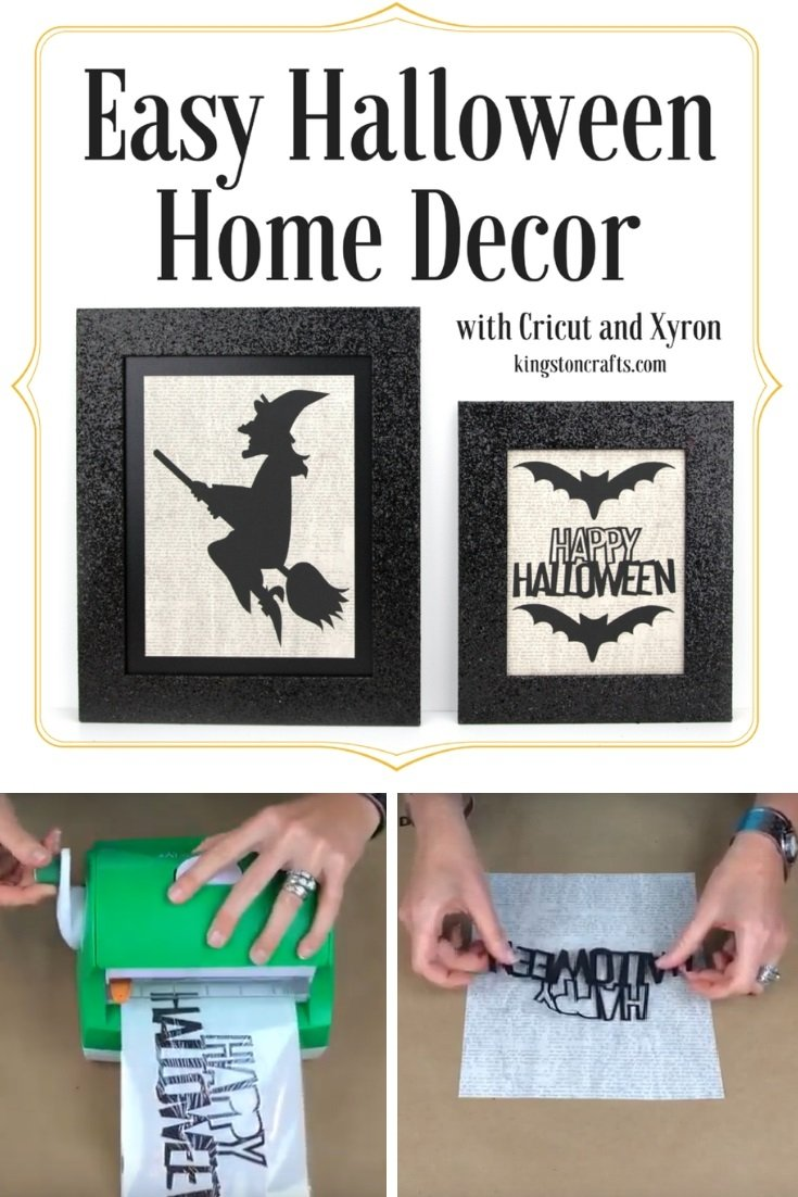 Learn How To Make Your Own Halloween Home Decor Is Less Than 20 Minutes By Using A Simple Black Frame And Few Designs From Cricut