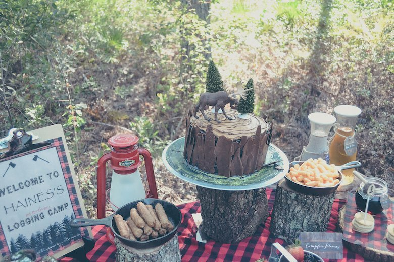 Fawn Over Baby outdoor lumberjack birthday party cake