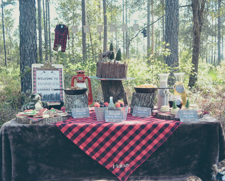 Fawn Over Baby outdoor lumberjack birthday party