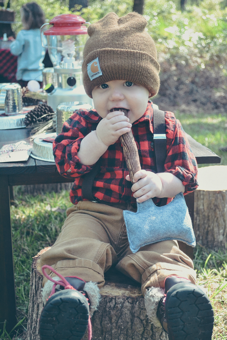 Fawn Over Baby outdoor lumberjack birthday party baby boy