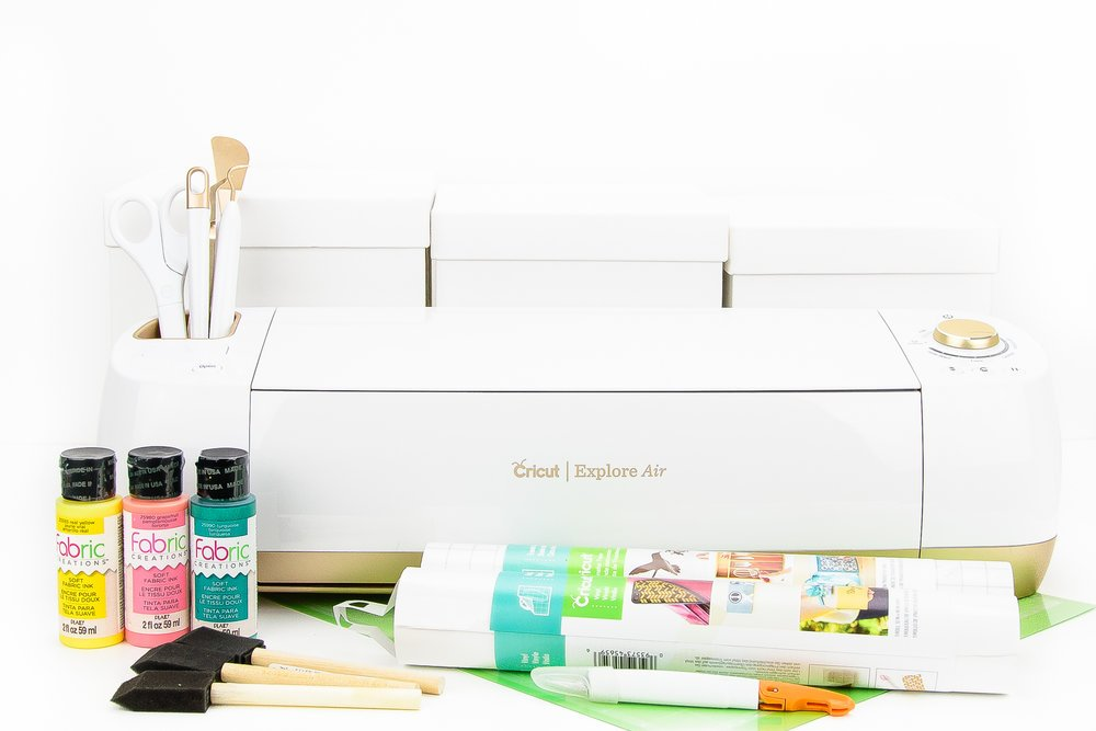 Cricut Explore Air machine with paint supplies for gift boxes
