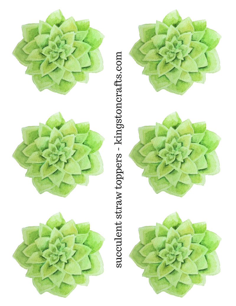 Free printable succulent straw toppers