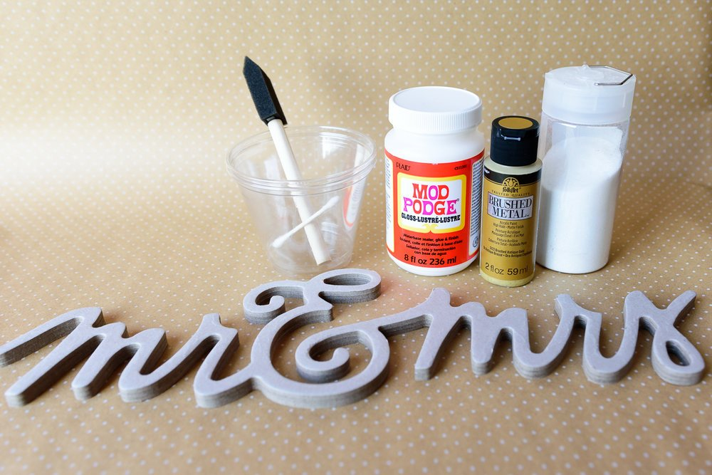 wedding gift topper supplies and mod podge