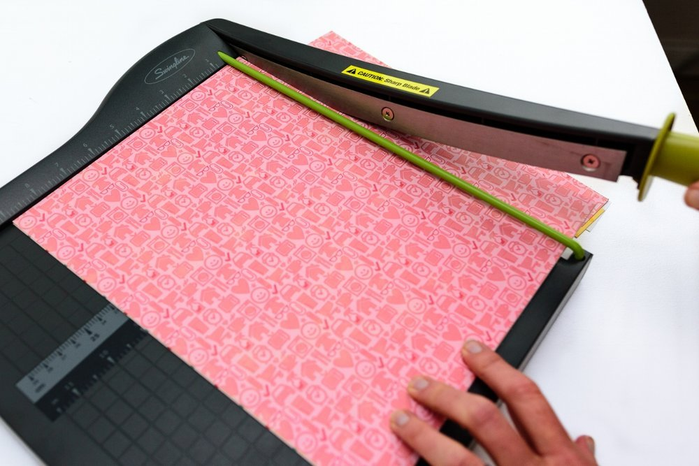 cut patterned paper into strips