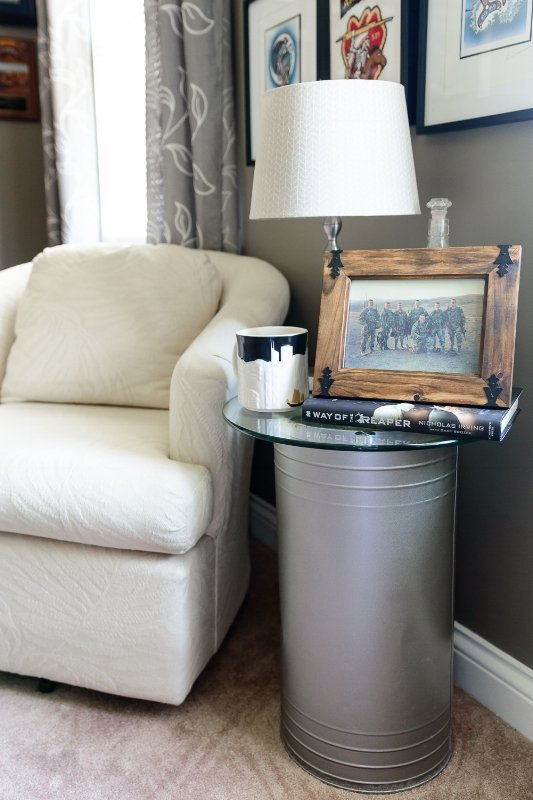 ash tray table inside of home
