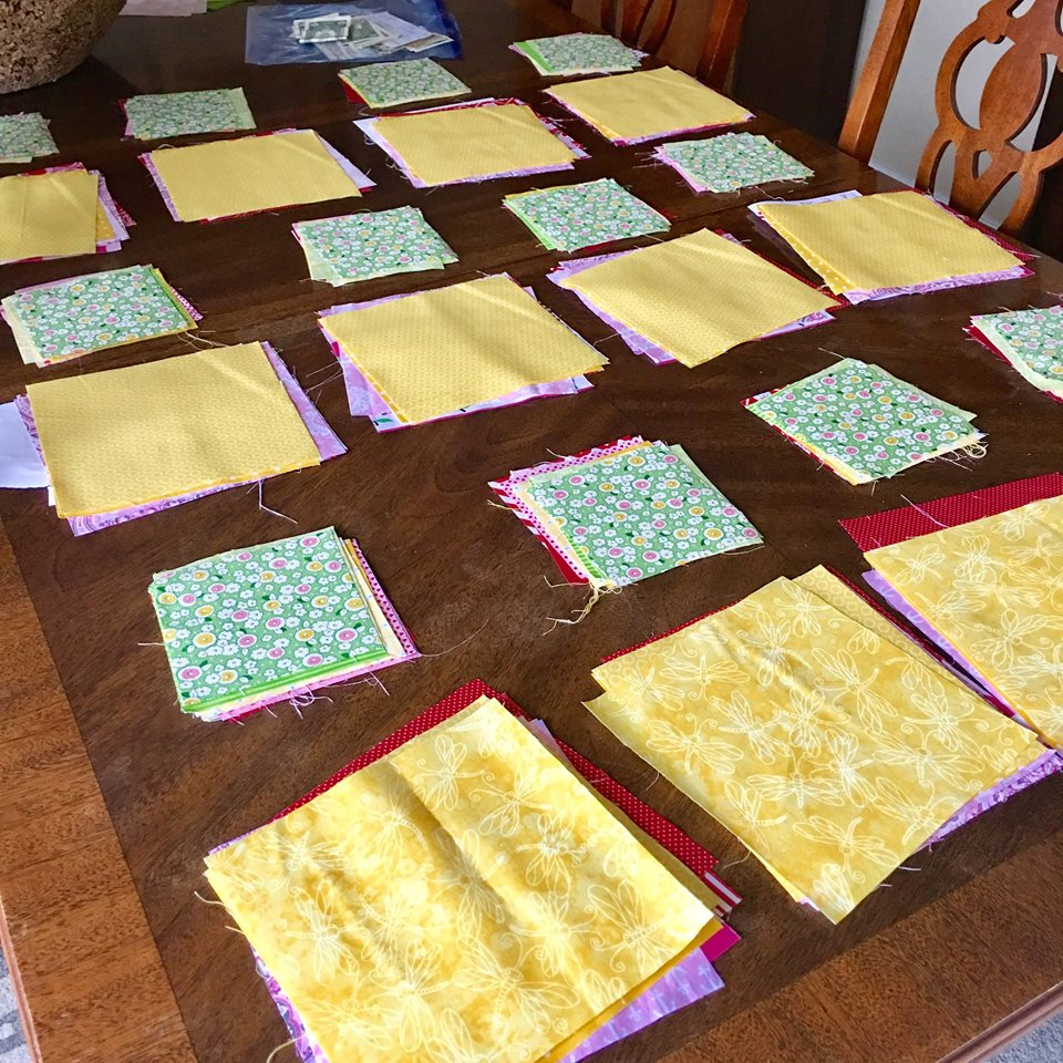seperate quilting squares into piles