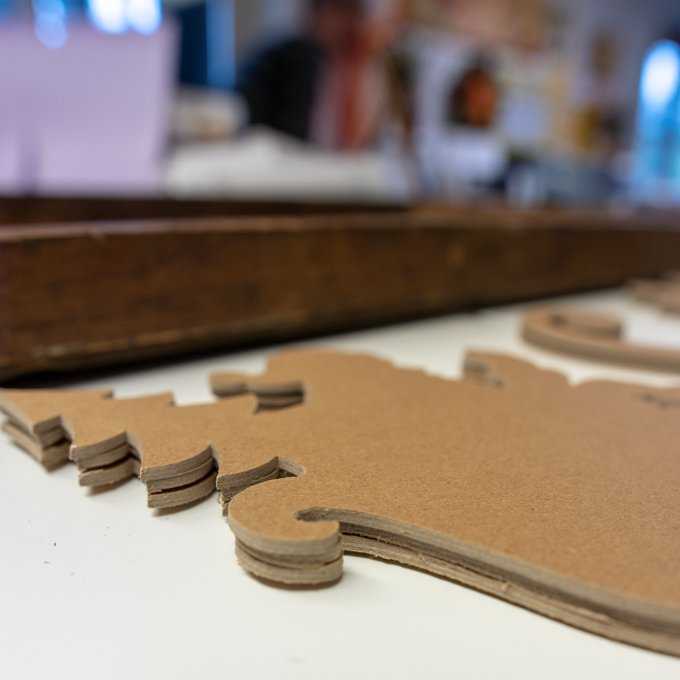 adhere chipboard layers to create a thick finished project