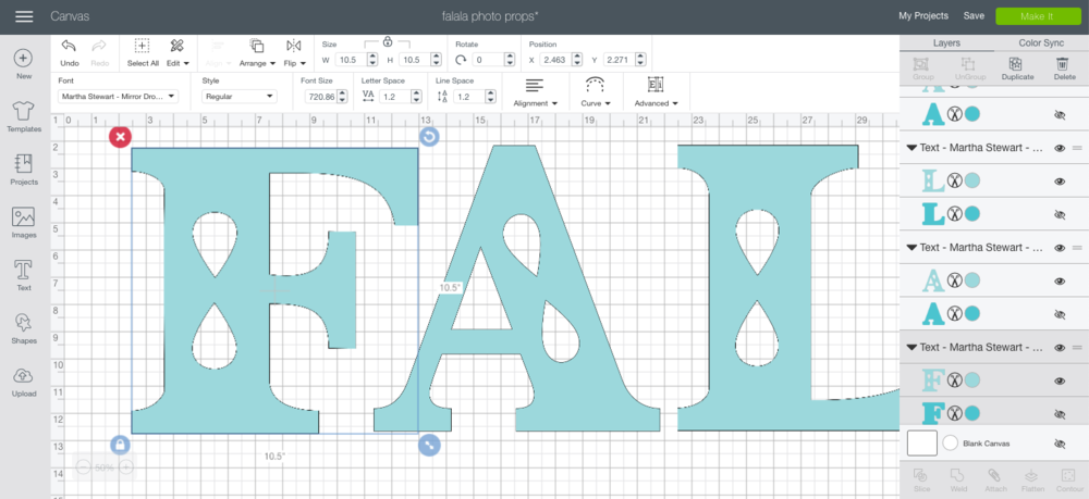 creating lettering in cricut design space for props for family Christmas pictures