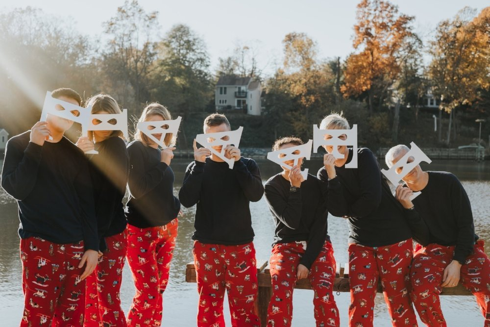 funny Christmas group photo with photo props