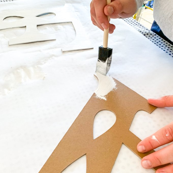 paint each letter with a foam brush