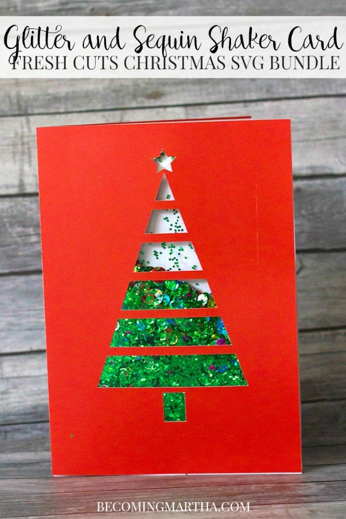 Becoming Martha Glitter and Sequin Shaker Card