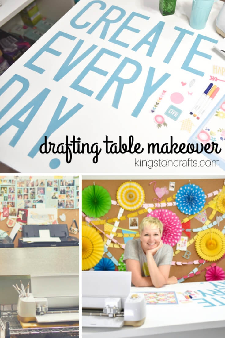 Drafting Table Makeover with Cricut - Kingston Crafts