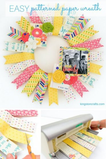 Easy Patterned Paper Wreath - Kingston Crafts