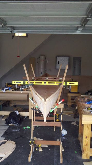 canoe being build in workshop