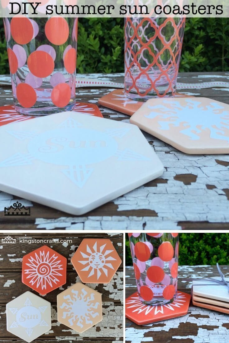 Cricut Explore One Summer Sun Coasters - Kingston Crafts