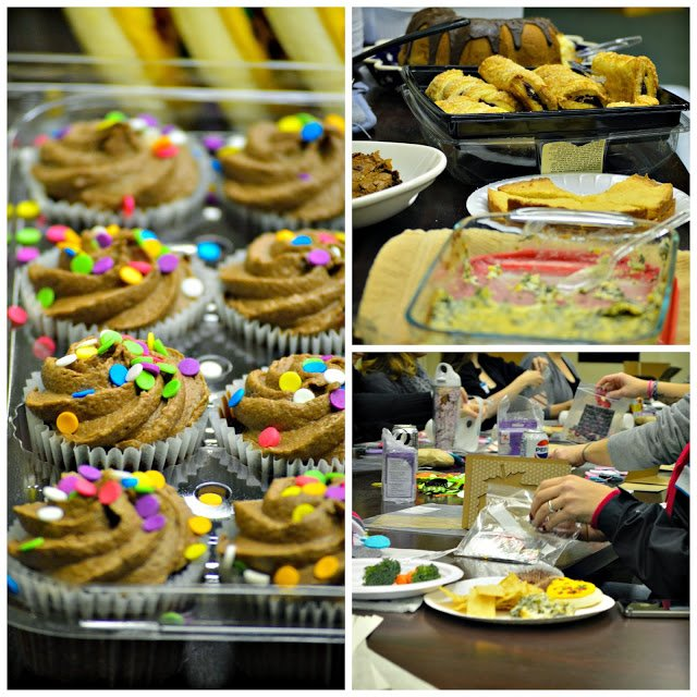 cupcakes, pastries, and food on table