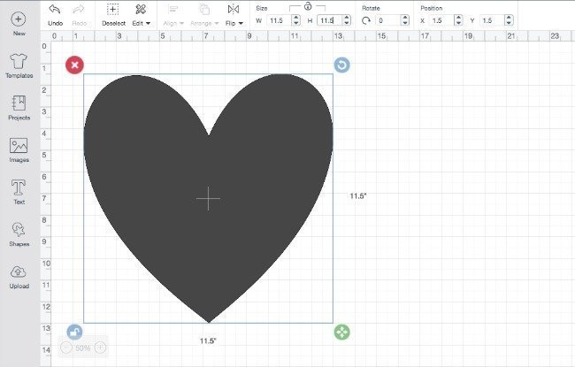 size your heart in Cricut Design Space