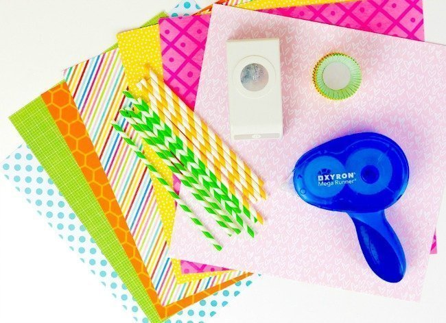 paper, straws, and Xyron Mega Runner supplies for Mother's Day Paper Flower Bouquet