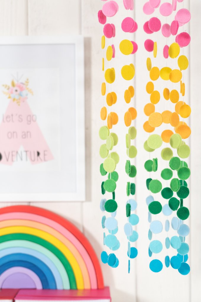rainbow mobile hanging in room