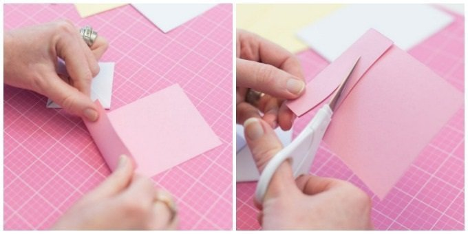 fold pink cardstock and use scissors to cut bunny ears