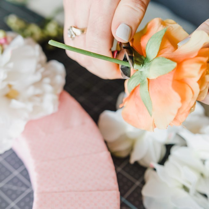 trim faux flower stems with your wire cutters