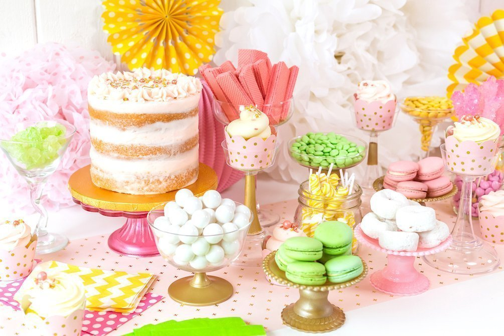 DIY gold and pink dessert buffet or candy table - Kingston Crafts