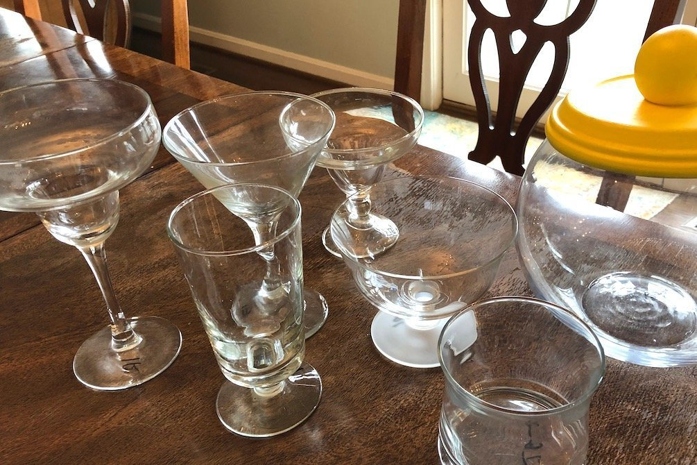 Assorted inexpensive glassware from Goodwill to use for dessert buffet - Kingston Crafts