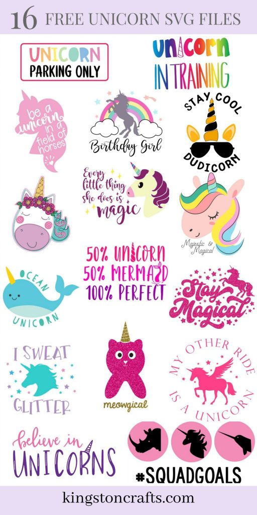 16 free unicorn svg files collage