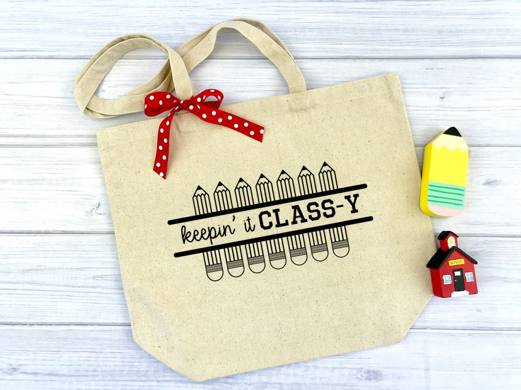Keepin It Classy canvas tote with bow