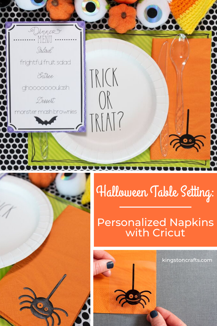Halloween Table Setting: Personalized Napkins with Cricut