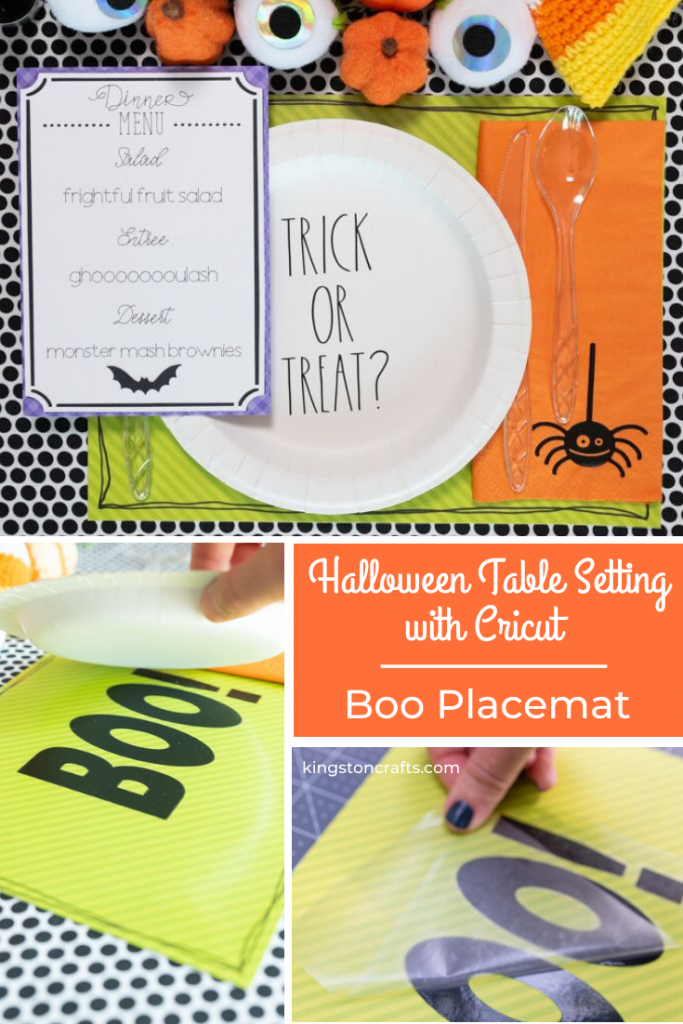 Halloween Table Setting with Cricut Boo Placemat