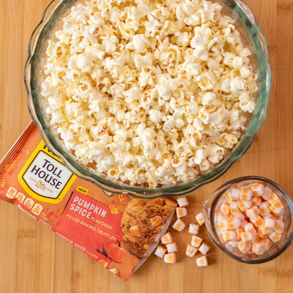 bowl of popcorn with NESTLÉ® TOLL HOUSE Pumpkin Spice Morsels