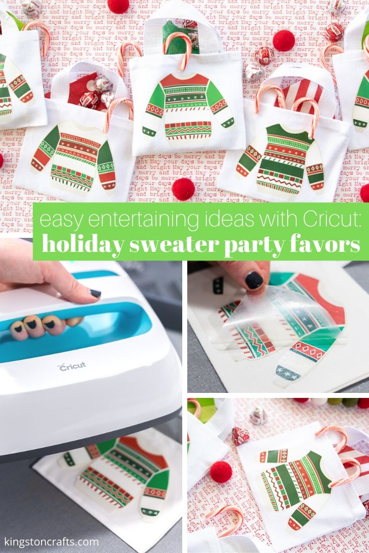 easy entertaining ideas with cricut holiday sweater party favors
