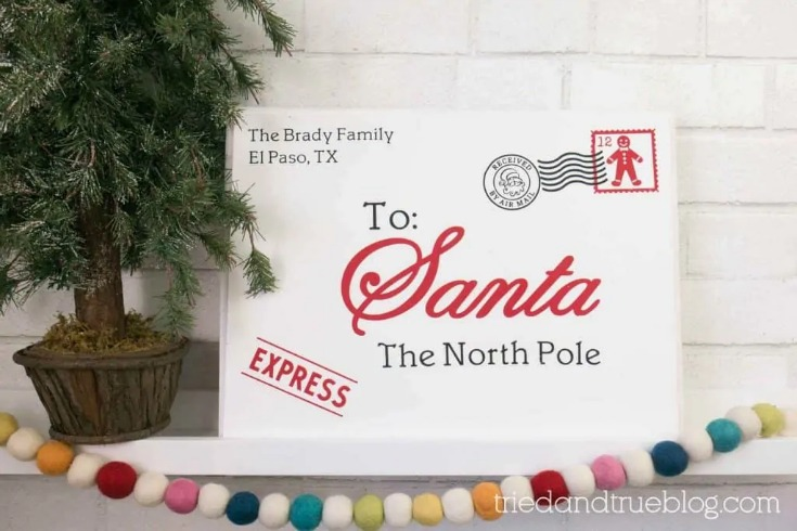 Personalized Letter to Santa Wood Sign