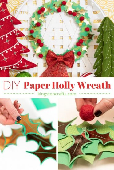 DIY Paper Holly Wreath - Kingston Crafts