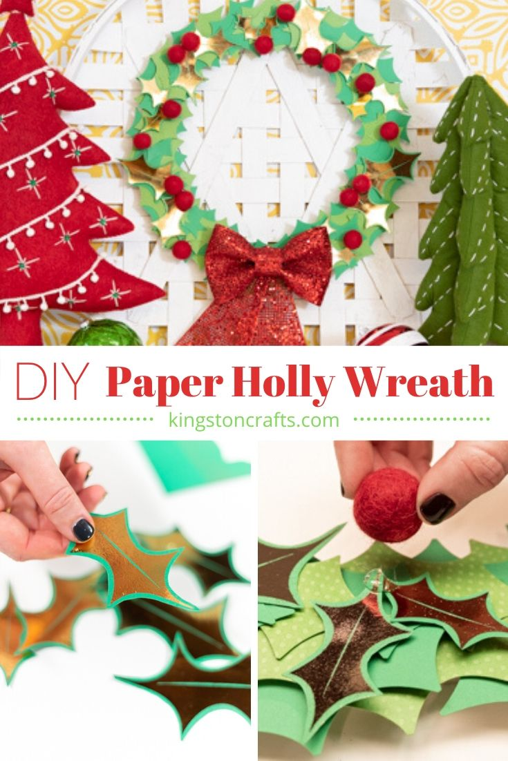 DIY Paper Holly Wreath